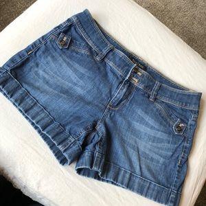 WHBM blue jean shorts size 4 cuff side pockets